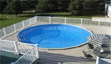 Plastic vinyl Garden decking with inset swimming pool
